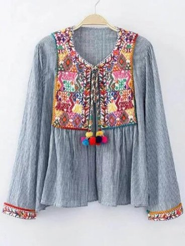 Vertical Striped Embroidery Detail Blouse With Pom Pom Tie