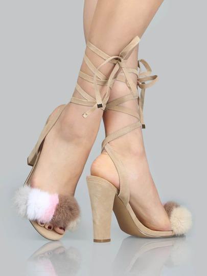 Chaussures à talons hauts en laine artificielle avec lacet multicouleur