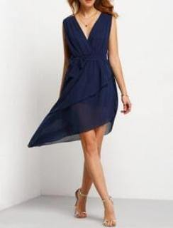 Royal Blue Deep V Neck Chiffon Asymmetrical Dress