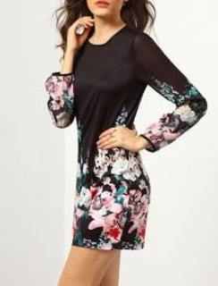 Black Long Sleeve Floral Dress