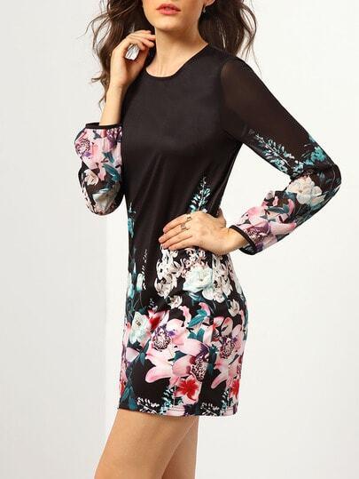 Black Long Sleeve Floral Dress pictures