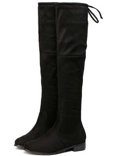 Black Chunky Heel Zipper Boots pictures