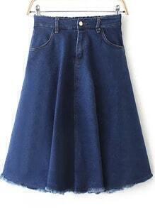 Blue Elastic Waist Fringe Denim Skirt