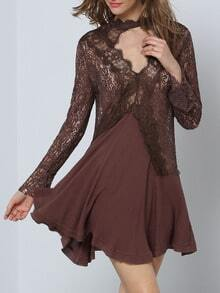 Brown Long Sleeve Appliques Panelled With Lace Dress