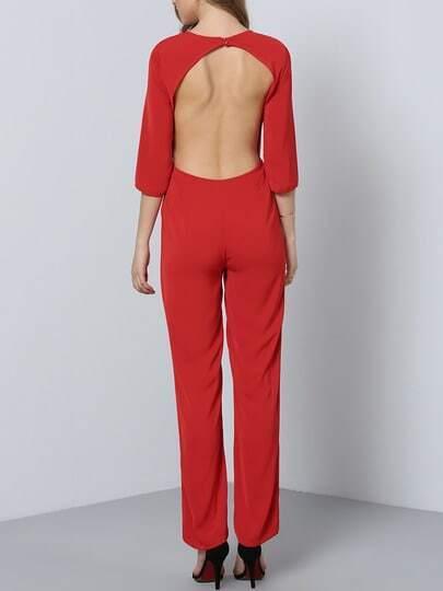 Mono manga larga bolsillos -rojo fotos