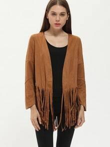 Brown Long Sleeve Tassel Coat