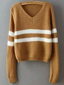 Khaki V Neck Striped Crop Sweater