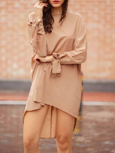 Camel Long Sleeve Loose Dress pictures