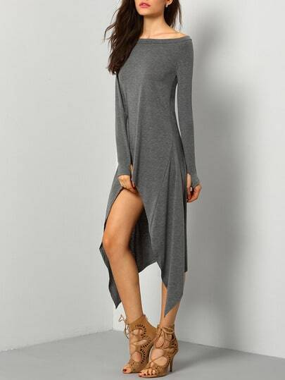 Grey One-Shoulder Asymmetrical Casual Dress pictures