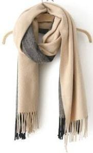 With Tassel Beige Scarf