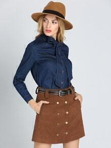 Blusa manga larga con lazo -azul