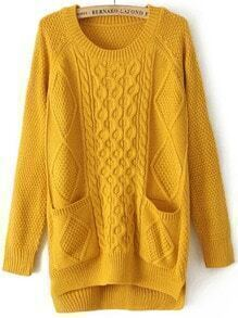 Yellow Round Neck Pockets Cable Knit Sweater