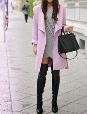 Pink Long Sleeve Pockets Coat