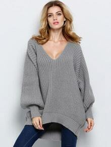 Grey V Neck Loose Knit Sweater