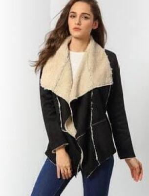 Black Lapel Asymmetric Coat