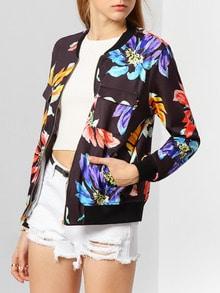 Jacket manga larga flores -negro