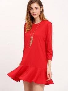 Vestido cuello redondo volantes -rojo