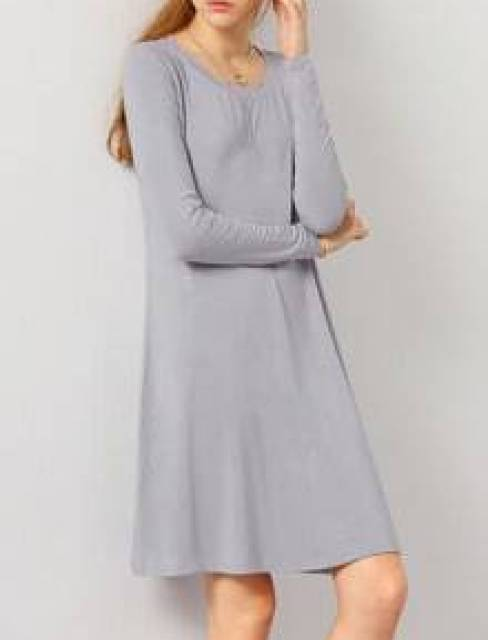 Grey Oxblood Long Sleeve Casual Babydoll Dress