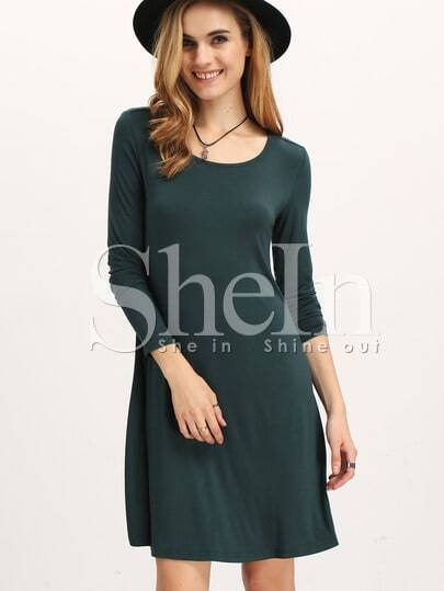 Dark Green Long Sleeve Casual Dress pictures