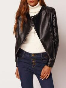Jacket manga larga cremallera -negro