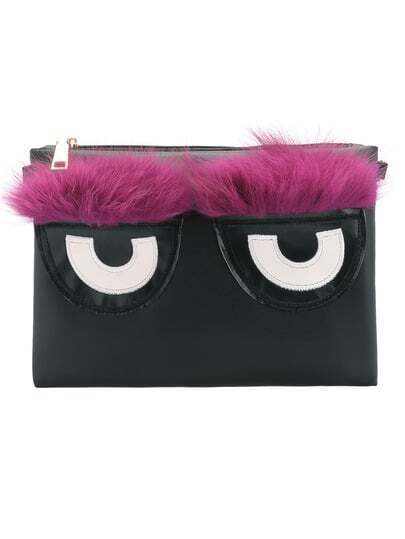 Black Purple Eye Pattern Clutch Bag pictures