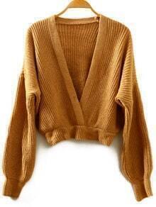 Khaki V Neck Batwing Crop Knitwear