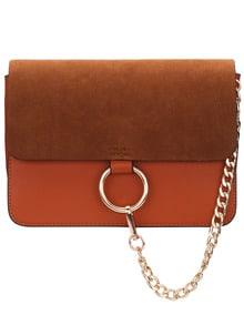 Brown Chain Ring Embellished Satchel Bag