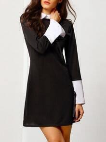 Vestido cuello combinado lazo -negro