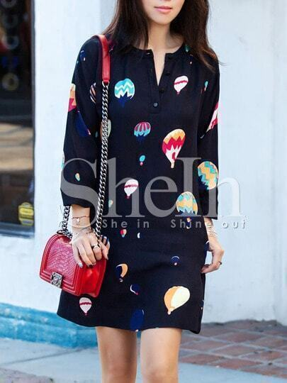 Black Balloons Print Shift Dress pictures