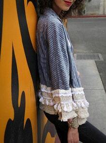 Abrigo rayas verticales crochet -azul