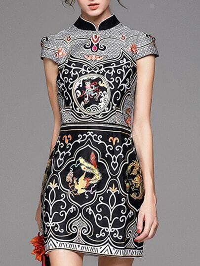 Multicolor Collar Short Sleeve Print Dress pictures