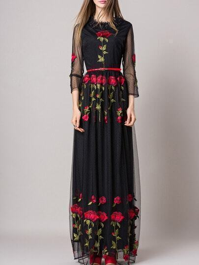 Black Rose Embroidered Gauze Belted Maxi Dress pictures