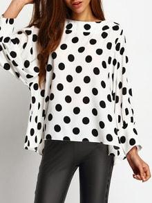 Black Polka Dots Batwing Sleeve Blouse