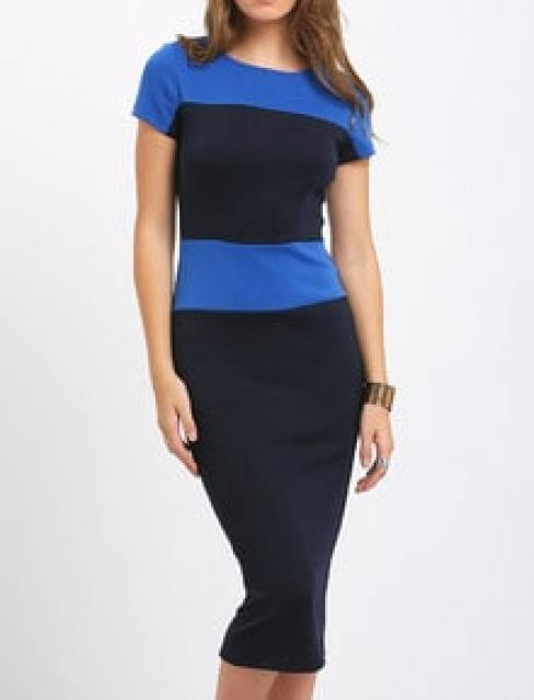 Black Blue Block Zipper Back Bodycon Midi Dress