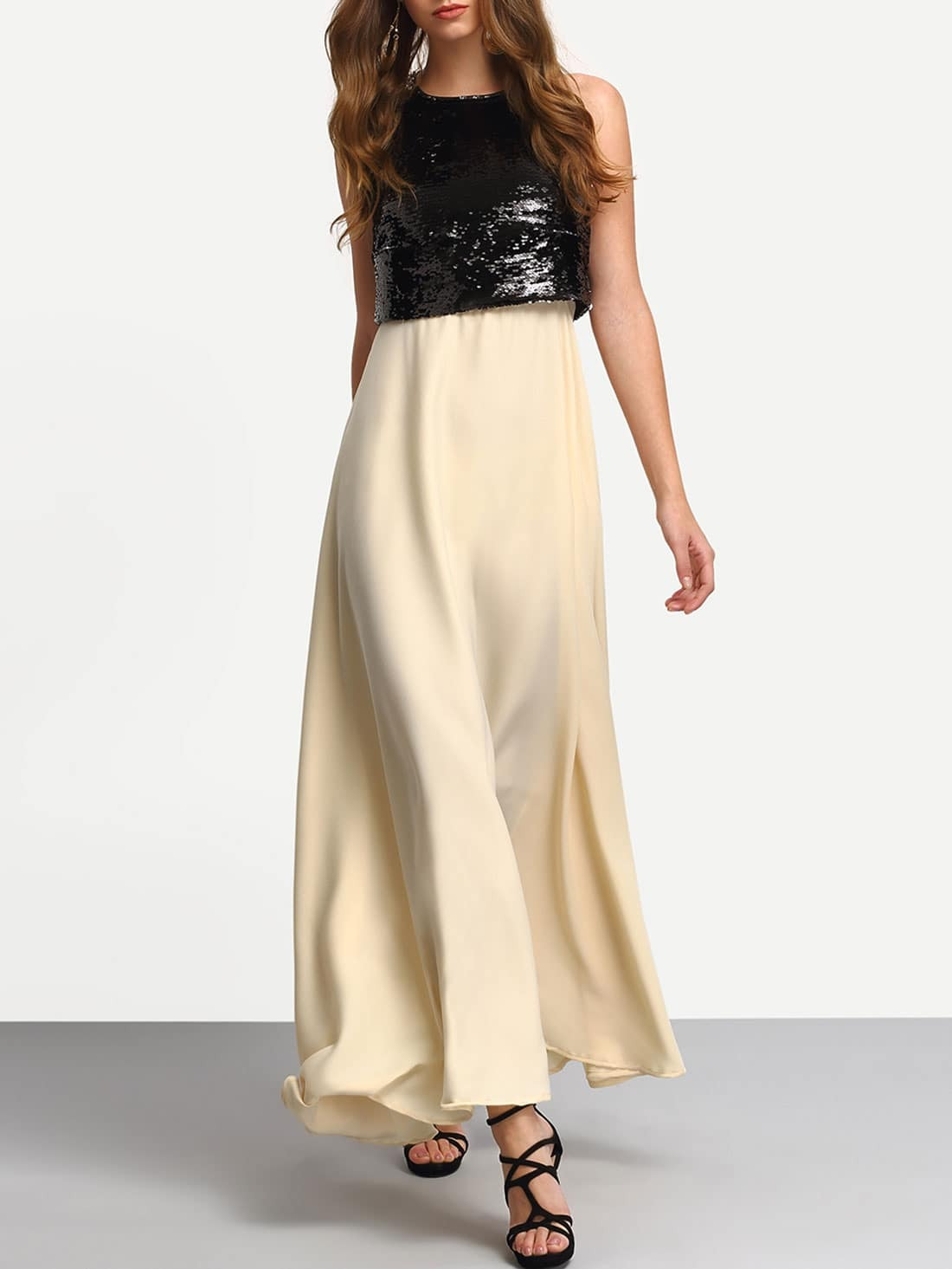 Black Apricot Sequined Splicing Flare Maxi Dress -SheIn(Sheinside)