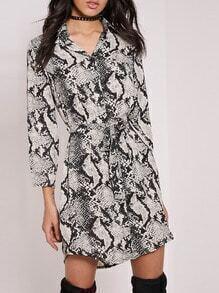 Apricot Snakeskin Print Tie-Waist Shirt Dress