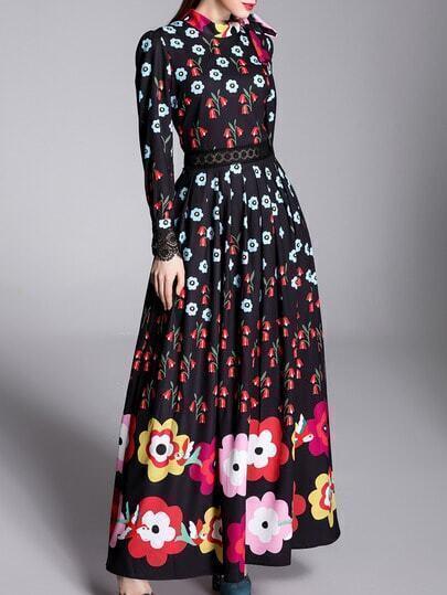 Black Tie Neck Contrast Lace Floral Dress pictures