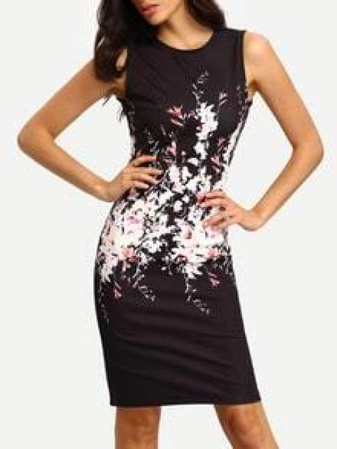Black Floral Print Sleeveless Bodycon Dress