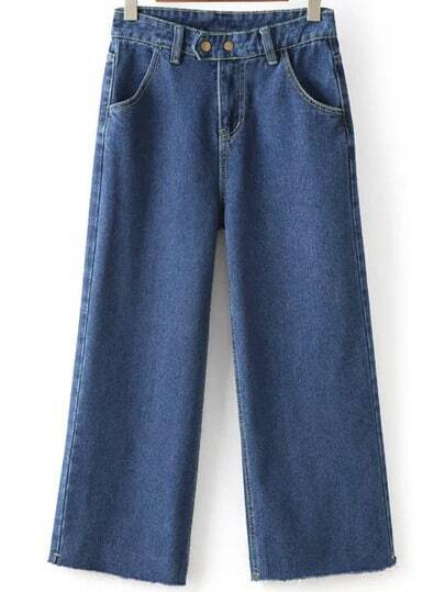 Frayed Wide Leg Denim Blue Pant -SheIn(Sheinside)
