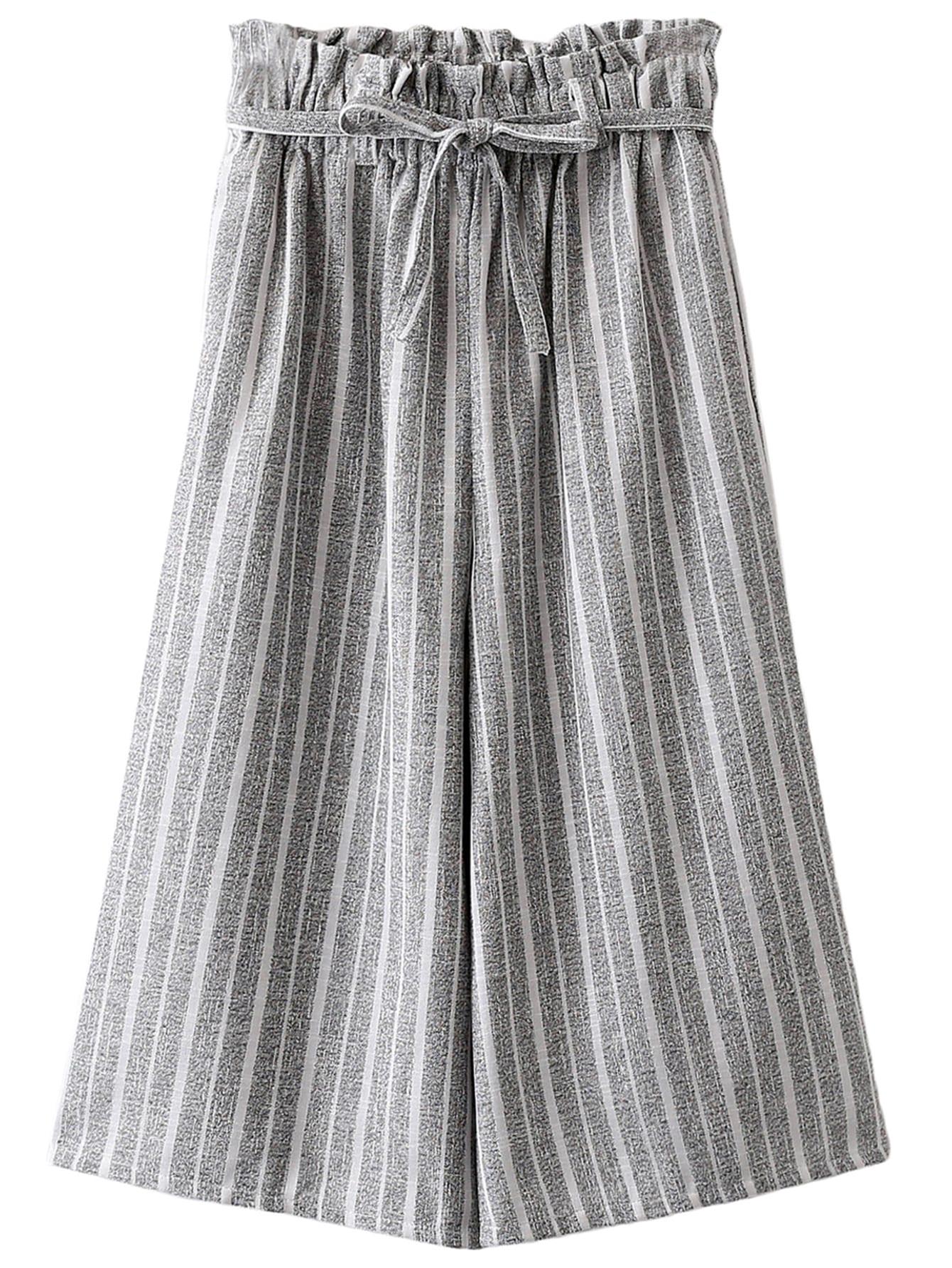 28ceb27feda61 Grey Pockets Tie-waist Bow Vertical Stripe Wide Leg Pants -SheIn(Sheinside)