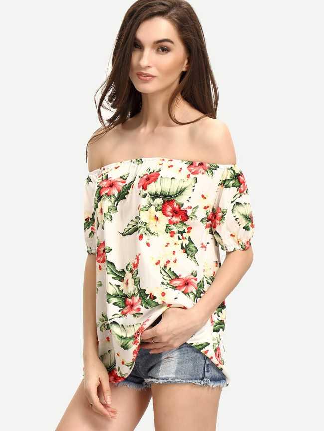 SheIn Off The Shoulder Flower Print Blouse