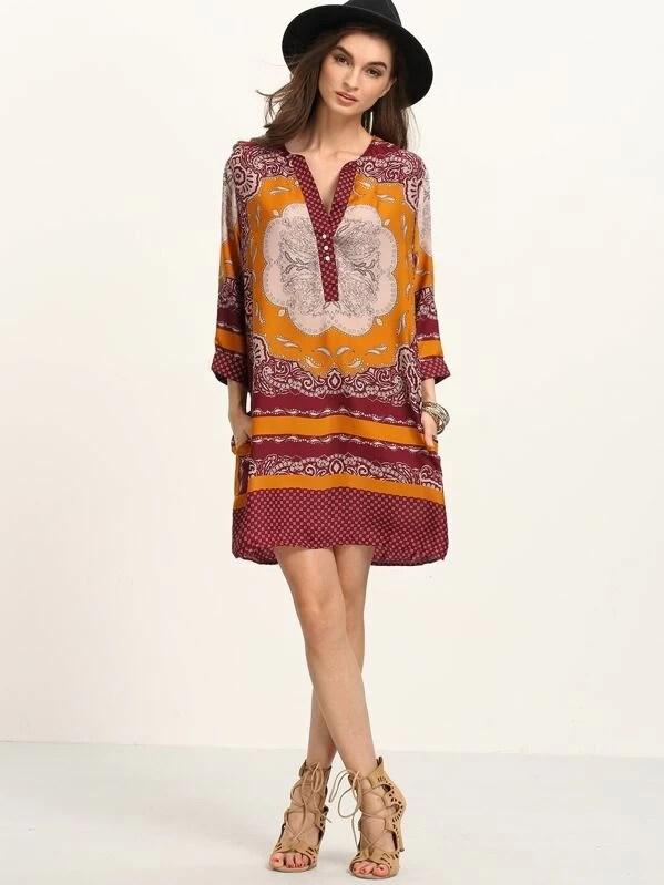 Kleid Halbarm Mit Folklore Print Blau 15 63 Boho Style Kleider