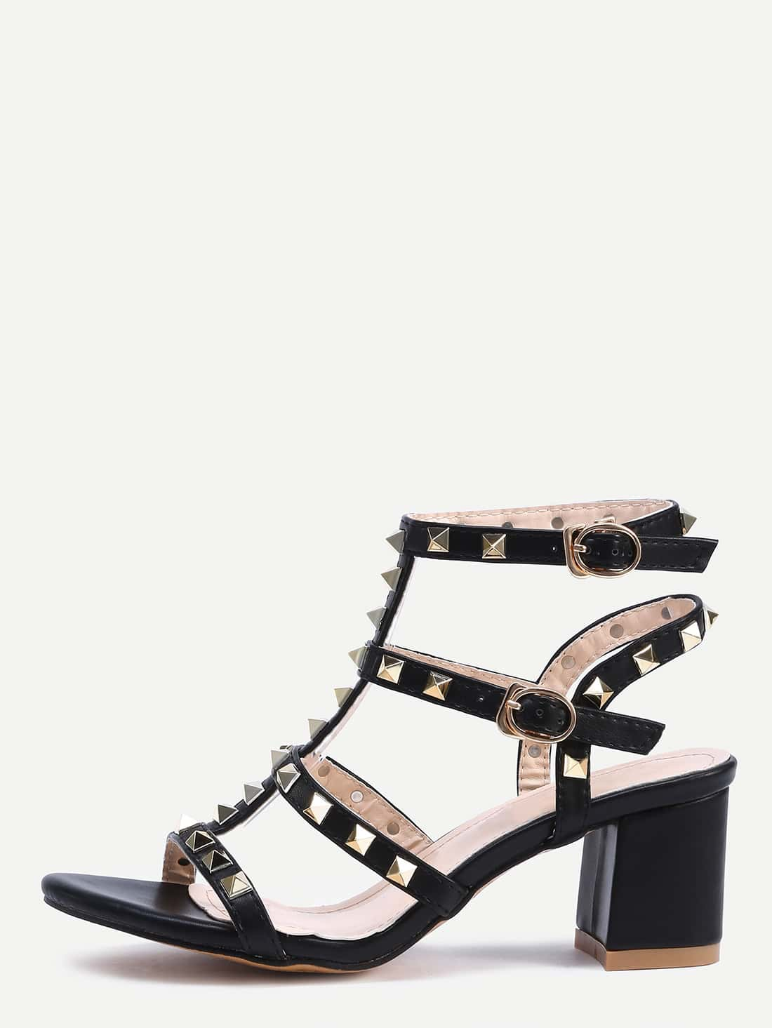 Black Metal Decorated Buckle Strap Chunky Sandals