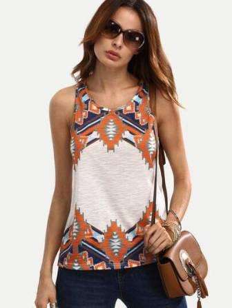 Multicolor Print Sleeveless T-shirt