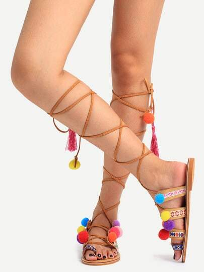 Multicolor Pop-pom Decorated Lace-up Ring Toe Sandals