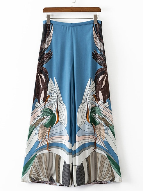Multicolor Swan Printed Zipper Wide Leg Pants -SheIn(Sheinside)