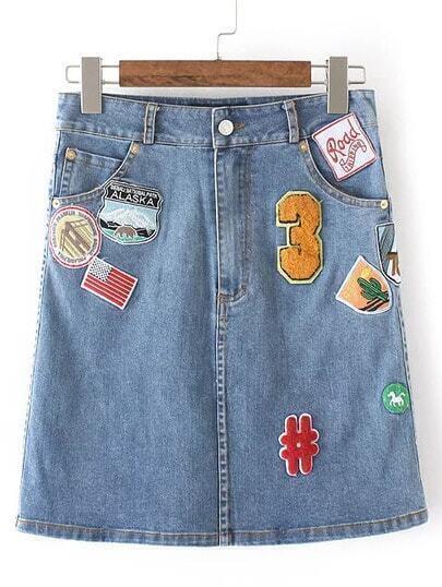 Blue Embroidery Zipper Pocket Denim Knee Skirt