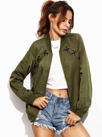 Jacket cruzado bolsillo - verde militar