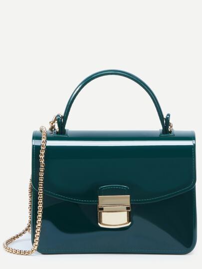 Bolso de mano plástico con cadena - verde