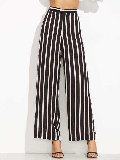 Pantalones rayas verticales ancho - negro